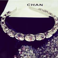 diadema bling al por mayor-aroque hair Trendy Luxury Chic Silver Clear Oval Crystal Headband Bling Bling Rhinestone Hairband Party banquet Hair Jewelry para niña Wo ...