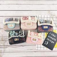 tasche mode kinder großhandel-Art und Weise der neuen koreanische Blumen Sequin Mädchen Taschen Goldkette Kinderledertasche Kinder Prinzessin Messenger Bag Umhängetasche Beste Handtaschen