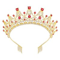Wholesale prom queen tiara resale online - Queen Crown for Women Gold Tiara with Red Rhinestone for Halloween Birthday Girls Prom Halloween Bridal Party