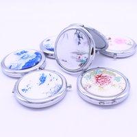 pintura de face metálica venda por atacado-Estilo chinês pintura de metal paisagem espelho de maquilhagem dupla face portátil dobrável espelho de maquiagem estilos aleatórios W9529