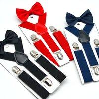 зажим для мальчика оптовых-Детские Подтяжки Bow Tie Set Мальчики Девочки Подтяжки Упругие Y-Подтяжки с Bow Tie Мода пояса Дети Детские ретро ремень клип Y-обратно M558
