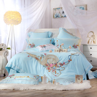 Wholesale full size bedding for girls online - Blue princess luxury Bedding Set for girls queen king size bedsheet set Bed set duvet cover home textile pillowcases bedclothes