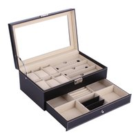 Wholesale watch glass boxes resale online - 6 Grids Grids PU Leather Watch Box Double Layers Glass Holder Rings Bracelet Storage Jewelry Display Case Packaging Container
