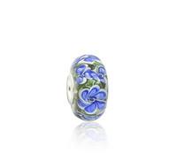 pulseira de cristal verde murano venda por atacado-Pétalas De Vidro Murano Contas de Vidro Azul brilhante S925 Prata Núcleo Encantos Fit Pandora Pulseiras Colar DIY Resultados Da Jóia Da Menina
