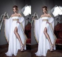 vestido abaya kaftan branco novo venda por atacado-Nova Chegada Caftan Marocain Vestido de Baile Islâmico Abaya Dubai Vestido de Noite Branco Mangas Compridas Fora Do Ombro Alta Fenda Kaftan Partido Vestido Maxi