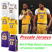 Wholesale basketball jerseys shorts resale online - Men s LA jerseys Anthony Davis LeBron James Kuzma Kyle Yellow White Black Purple NCAA High School Basketball Jerseys pants shorts