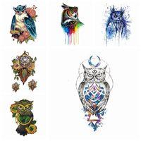 3d tattoos temporäre körperaufkleber großhandel-Owl Temporary Tattoo 3D Wassertransfer Tier Tattoo Aufkleber Arm Bein Fashion Style Body Art Abnehmbare wasserdichte Tattoo Art Aufkleber HHA310