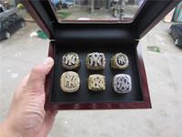 ingrosso anello 1998-2019 Baseball Yankees 1977 1996 1998 1999 2000 2009 Campionato del mondo di New York Anello con scatola di visualizzazione in legno Set da uomo fan regalo Drop Shipping