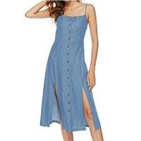 düğmeli askılar toptan satış-Yaz Kadın Midi Elbise 2019 Yaz Düğme Suspenders Kolsuz Casual Slim Fit Günlük Elbiseler Mavi Artı boyutu Elbise vestidos 2XL