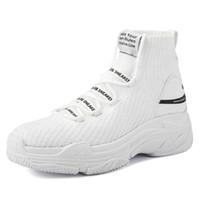 logo knits venda por atacado-Dropshipping Logo High Top Sneakers Mulheres Malha Superior Respirável Sapatos Meia Grossa Sola 5 CM Moda Sapato Feminino Preto