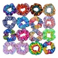 tela de color caramelo al por mayor-16 colores sostenedor del Ponytail Bandas Scrunchy pelo elástico del pelo del laser Scrunchy Hairbands Lazos Cuerdas para muchachas de las mujeres