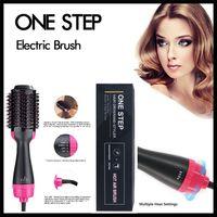 saç kurutma makinesi toptan satış-Doğrultma Kıvırcık Tarak Kadınlar ve Erkekler ayarlama Bir Adım Elektrikli Saç Fırçası 4in1 Saç bigudi Kurutucu Güzellik Styler Çoklu Isı