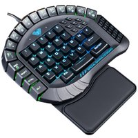 Wholesale hand games for sale - Group buy New RGB Backlit Mechanical Keyboard Single Hand Macro Blue Switch PUBG Game Gamer One Hand Split Mini Gaming Computer Keyboards