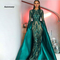 Wholesale elegant silver chiffon lace dresses resale online - Hot sale Elegant Muslim Green Long Sleeves Evening Dresses With Detachable Train Sequin Bling Moroccan Kaftan Formal Party Gown