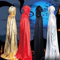gümüş renkli siyah pelerinler toptan satış-Cadılar bayramı Pelerin Sihirbazı Pelerin Cadılar Bayramı Pelerin Giyim Ölüm Sihirbazı Giydir Siyah Kırmızı Altın Ve Gümüş Renk
