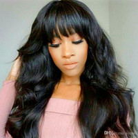 Wholesale lacefront human hair lace front wigs for sale - Group buy Full Lace Human Hair Wigs With Bangs Pre Plucked Body Wave Glueless Long Black Bang Lacefront Wig For Black Women Full End