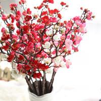 yapay bitkiler kiraz çiçeği toptan satış-Yapay Ipek Çiçekler Erik Kiraz Çiçekleri Sahte Çiçekler Flores Sakura Ağacı Dalları Bitki Düğün Ev Oturma Odası Süslemeleri YW3781