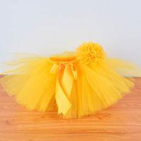 falda tutú amarilla bebé niña al por mayor-Yellow Baby Girls Fluffy Tutu Falda Diadema Set Recién Nacido Foto Prop Disfraz Infantil Cumpleaños Tul Tutus Outfit Para 0-12 M