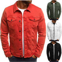 19d7dec1b73 Wholesale red denim shirt men for sale - Mens Brand Designer Jackets  Vintage Solid Color Denim