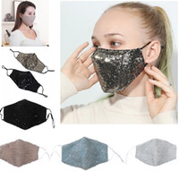 Wholesale Sequin Safe Breathing Mouth Masks Collapsible Respirator Anti Dust Breathable Face Mask Multi Color Fashion Design HH9