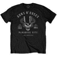 farbe rosen großhandel-Guns N Roses 100% Volumen Paradise City T-Shirt Offizielles Herren-Rock-Rock in Schwarz
