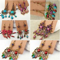 Wholesale mixed colorful earrings for sale - Group buy 12pairs Colorful Vintage earrings Bohemian beads mixed order Fashion jewelry