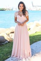 abertura de volta curto vestido rosa claro venda por atacado-Luz rosa Vestidos de Baile manga curta Longo chiffon vestido de noite aberto de volta barato custom made formal vestido de noite
