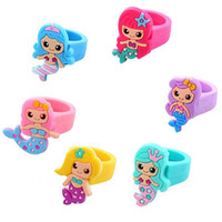 Wholesale baby finger rings resale online - Kids Mermaid Ring Cartoon Silicone Baby Children Mermaid Finger Ring for Party Birthday Christmas Gifts HHA499