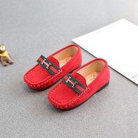 ingrosso moda bambino maschile-Hot H marca primavera autunno H New Fleece scarpe in pelle bambino moda Wild Single scarpe Maschio ragazza British Piselli scarpe 21-30
