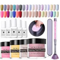 14pcs Dipping Nail Kits Nude Holographic Dip Nail Glitter Luminous Matte Gradient Chrome Pigment Dust Sequins