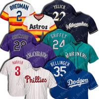 envie camisetas de baseball autênticas venda por atacado-Homens jersey Bryce Harper jersey Nolan Arenado Christian Yelich Alex Bregman Cody Bellinger Ken Griffey Jr camisa de beisebol tops venda quente
