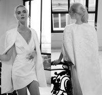 v-ausschnitt spitze hochzeitskleid designer großhandel-Neue Designer Elie Saab Kurze Brautkleider mit Cape 2019 Kollektion V-Ausschnitt, Ärmel, Spitze Applique Pailletten Brautkleider