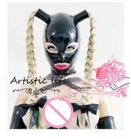 weibliche zöpfe großhandel-Neue heiße sexy geschlechtsprodukte frauen frau mädchen Latex perücke Maske Twist zöpfe weibliche zopfhauben fetisch cekc einheitliche kopfbedeckungen zentai