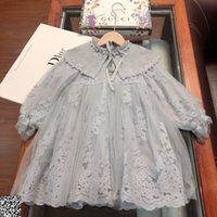 uzun kollu elbiseli iki renk toptan satış-Çocuk şal çocuklar giysi tasarımcısı şal elbise Sonbahar uzun kollu dantel elbise şal inci dikiş iki renk boyutu 100-140 cm