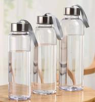 kunststoff-wasserflaschen transparent großhandel-300 ml 400 ml 500 ml Outdoor Sports Wasserflaschen Kunststoff Transparent Runde Auslaufsichere Tassen Mit lift seil Reise Tragbare Wasser Tasse GGA2632