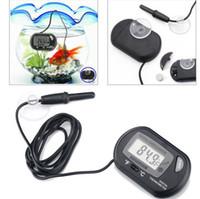 régulateur de température bleu achat en gros de-Mini numérique poissons d'aquarium Thermomètre Réservoir avec batterie filaire capteur inclus dans le sac opp