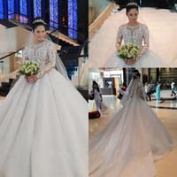 vestidos de noiva mangas bufantes venda por atacado-Modest árabe mangas compridas vestidos de casamento do laço puffy vestidos de baile sheer jóia apliques de pescoço lantejoulas contas de casamento vestidos de noiva bc0895