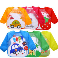 Wholesale baby burp cloths long sleeve resale online - Baby girl burp cloths cartoon smock long sleeve waterproof burp cloths Coverall animals baby feeding Accessories
