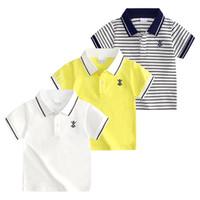 adrette tshirts großhandel-Einzelhandel scherzt Designt-shirts Jungenbaumwollkurzschluss-Hülsenstreifen T-Shirt Kindermarkenart und weiseluxusbeiläufige Sportt-shirts Trägershirt-T-Stücke