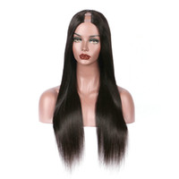Wholesale upart natural wigs for sale - 150 Density Silky Straight U Part Wig For Sale Human Hair Natural Peruvian Virgin Hair Upart Wig Straight U part Wig