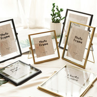 Wholesale wiring photo resale online - Creative Glass Floating Photo Frame Nordic Metal Wire Desktop Picture Holder Home Wedding Decor Gold Silver Black x4 x6 x7