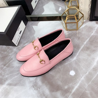 Wholesale buttons horses resale online - Top brand best designer luxury high quality men s women s leather loafers with horse button buckle men s and women s flat shoes size