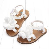 ingrosso scarpe da passeggio per bambini-Neonate 2 colori Sandalo Flower Sandali Bambini PU Suola Prewalker Toddler Sandali Estate Principessa prime scarpe da passeggio
