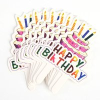 ingrosso torte di torta nuziali-Hot Air Balloon Arcobaleno Cake Toppers Happy Birthday Cake Top bandiere Glitter Topper Decorazioni per le forniture di nozze di compleanno