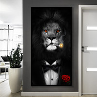 Wholesale painting black horses for sale - Group buy Black and White Classy Lion Tiger Elephant Giraffe Wolf Horse Wall Art Paintings Animal Wearing a Hat Canvas Painting