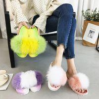 koreanischen fuchs pelz großhandel-Neue sommerfrauen pelzigen hausschuhe dame plüsch pelz hausschuhe plattform koreanischen stil fuchspelz für mode frauen flach