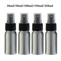 Wholesale metal perfume atomizers resale online - 30 ml Aluminum Empty Atomizer Refillable Perfume Travel Spray Bottle with whiter Black Spray Cap for Essential Oils Cleaning Pro