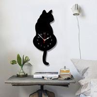 relógios mudo venda por atacado-Branco / preto abanando a cauda gato design relógio de parede crianças quarto decoração da parede presente original criativo dos desenhos animados mudo diy relógio