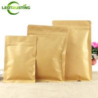 reißverschlusstaschen für papiere großhandel-Leotrusting 100 teile / los Wiederverschließbare Flache Unterseite Kraftpapier Druckverschlussbeutel Verpackung Reißverschlussbeutel Kaffeepulver Geschenkpapier Aufbewahrungsbeutel