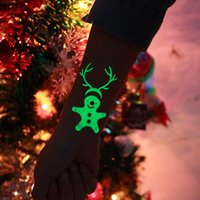 Wholesale tattoo stickers tree resale online - Christmas Decoration Pines Reindeer Luminous Temporary Tattoo Sticker Ornaments New Year Xmas Halloween Party Supplies Noel